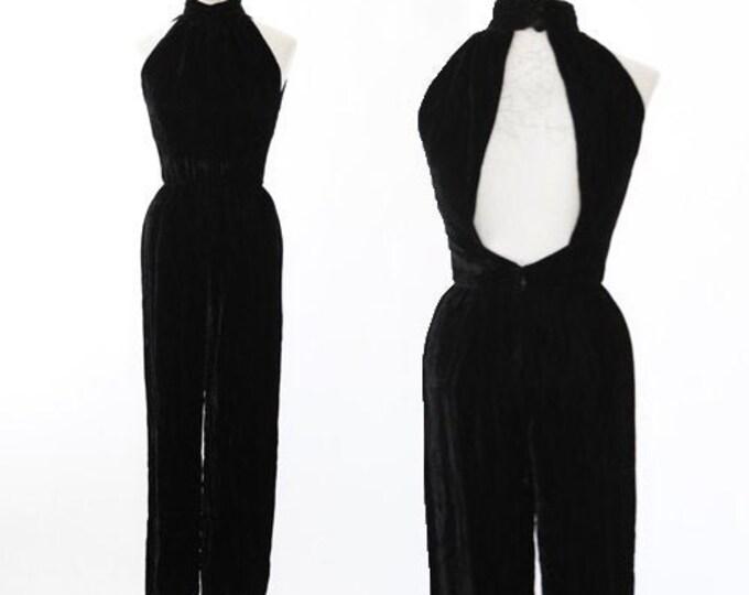 Inky black velvet jumpsuit | vintage 80s velvet jumpsuit