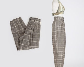Inclinations slacks | Vintage 90s checker high waist slacks pants | 1990s deadstock trousers