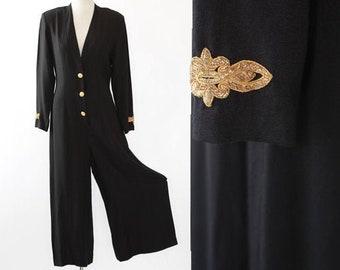 Military Jumpsuit | Vintage 90s Karen Kane black jumpsuit | Palazzo pant jumpsuit