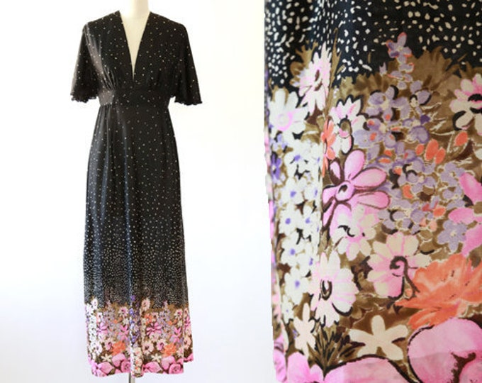 Hawaiian dress | Vintage 70 floral maxi dress | Hawaiian floral print 70s dress