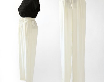 Ivory trousers | vintage 90s high waist slacks | Carol Antone collection