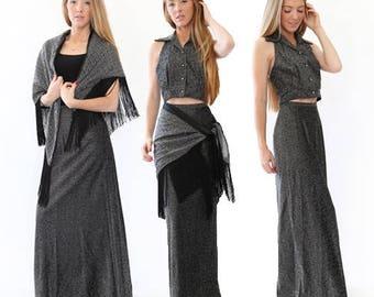 Vtg 70s Lurex metallic Silver 3pc skirt |  Halter top Disco maxi dress skirt fringe shawl set