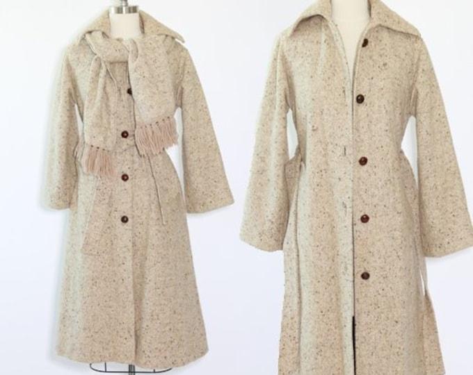 Ethel Pear coat | Vintage 50s Oatmeal tweed wool coat | fringe scarf coat