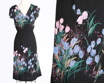 Tulip mini dress | Vintage 70s floral tulip dress | 1970s contempo casuals mini dress