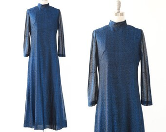 70s blue lurex maxi dress