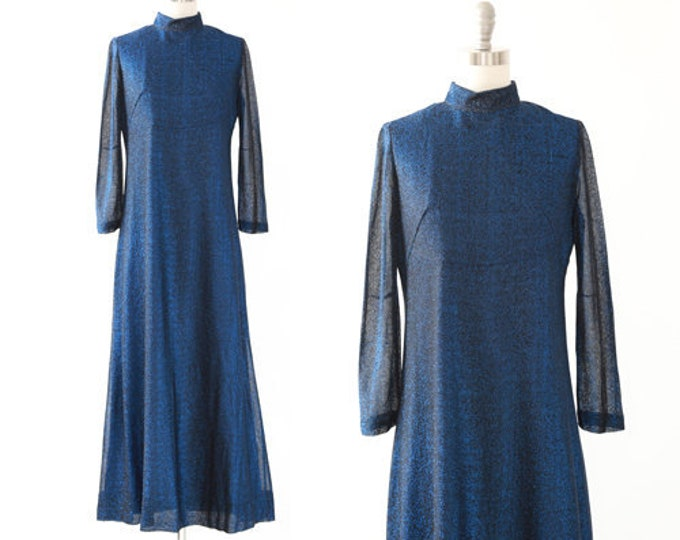 70s blue lurex maxi dress