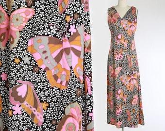 Butterfly maxi dress | Vintage 70s novelty print maxi dress | 1970s floral psychedelic nylon maxi dress