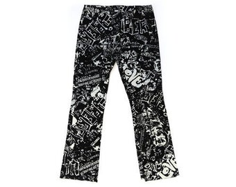 Graffiti leather pants | Vintage 90s Wilsons leather graffiti leather pants Sz. 8