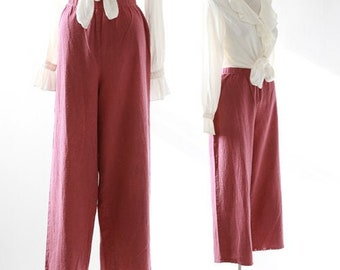 Cropped rosewood trousers | 90s pink cotton slacks