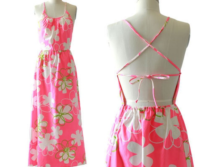 Nalli Honolulu dress | vintage 60s tropical pink Hawaiian floral Maxi dress