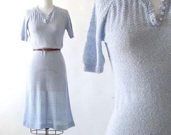 Blue Dust knit dress | Vintage 70s does 30s Crochet knit Dress