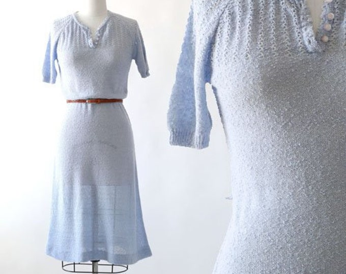 Blue Dust knit dress | Vintage 70s does 30s Crochet knit Dress