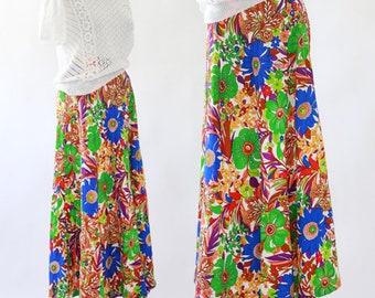 Psychedelic floral maxi skirt | Vintage 60s barkcloth skirt