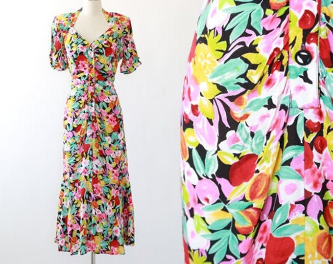 Featured listing image: Chiquita fruit dress | Vintage 90s Carole Little fruit maxi dress | tropical fruit Flamenco dress