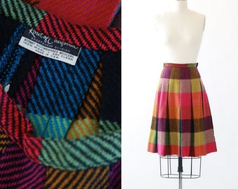 Korea of California rainbow skirt | Vintage 50s woven checker skirt | 50s pleated wool skirt
