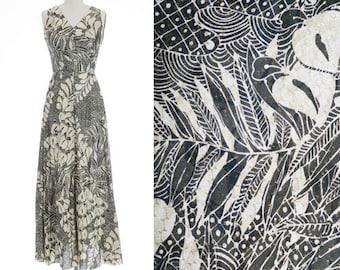 Tropical maxi dress | Vintage 70s Tropical Hawaiian floral palm leaf maxi dress | 70s Gold lurex maxi dress