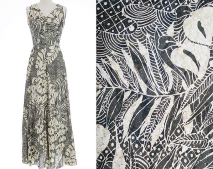 Featured listing image: Tropical maxi dress | Vintage 70s Tropical Hawaiian floral palm leaf maxi dress | 70s Gold lurex maxi dress
