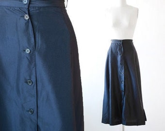 Blue silk skirt | Vintage 90s silk Maxi Skirt L XL