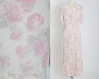 Rose midi dress | Vintage 70s 30s semi sheer pink floral rose midi dress