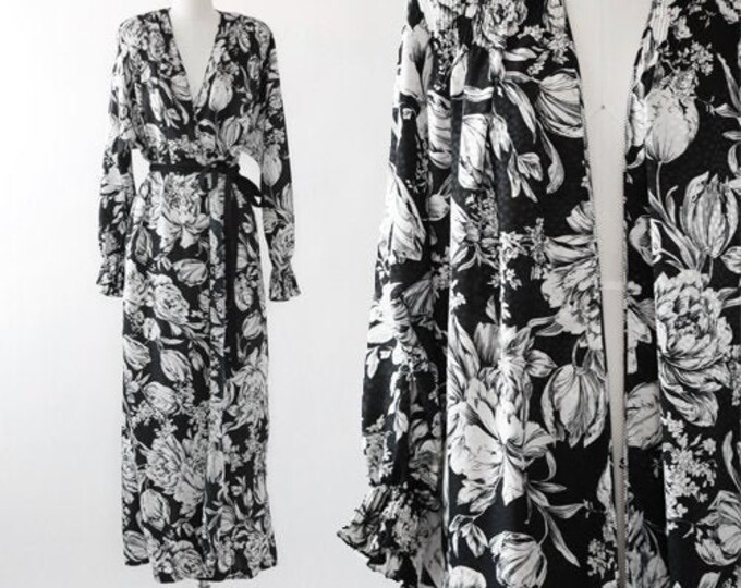 Mary McFadden dress | vintage 80s floral wrap dress