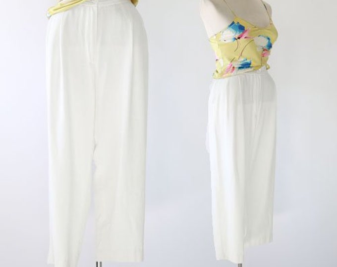 Cropped white trousers | 90s high waist slacks
