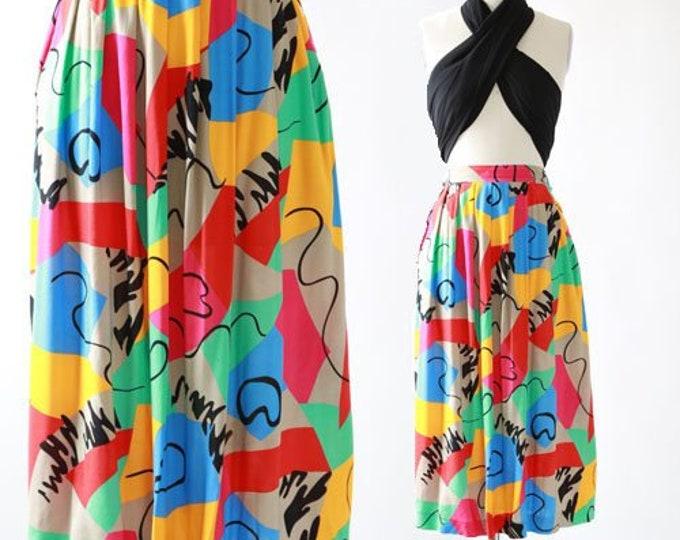 Abstract rayon midi skirt | vintage 80s colorful midi skirt M