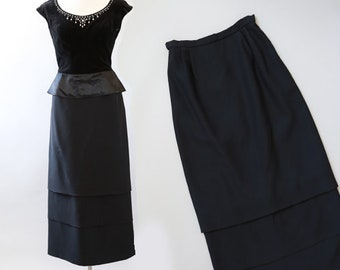 Lorrie Deb skirt | Vintage 60s hit waist tiered skirt | 1960s black maxi dress skirt
