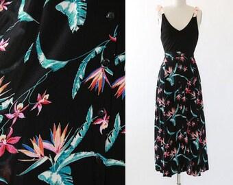 Tropical maxi skirt | Vintage 90s floral Hawaiian skirt | Bird of Paradise skirt