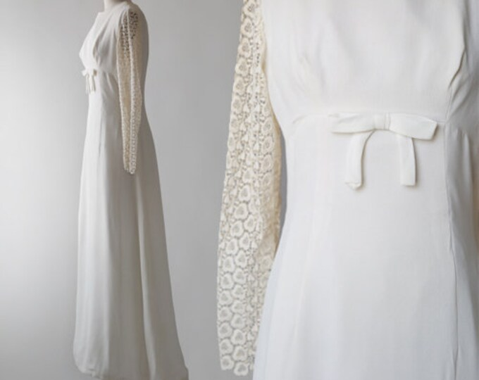 Vera Mont Paris wedding dress | vintage 1960s wedding dress | crochet floral bow wedding down | A line wedding dress