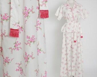 LVM floral pajamas | Vintage 50s pink floral PJ set | 1950s High Waisted belted satin Lounge Pants set