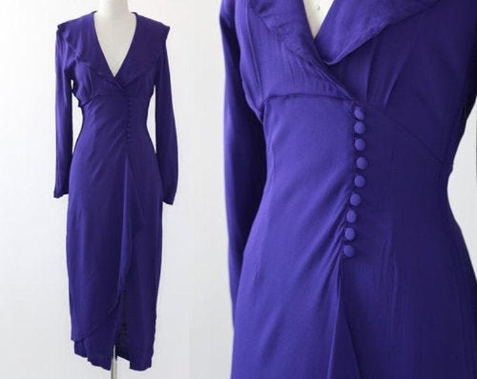 Karen Alexander dress | Vintage 90s purple rayon wiggle dress | 90s does 40s dress