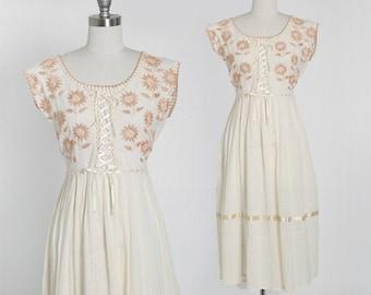 Vintage 70s embroidered floral cotton gauze dress | 1970s boho lace up floral gauze dress