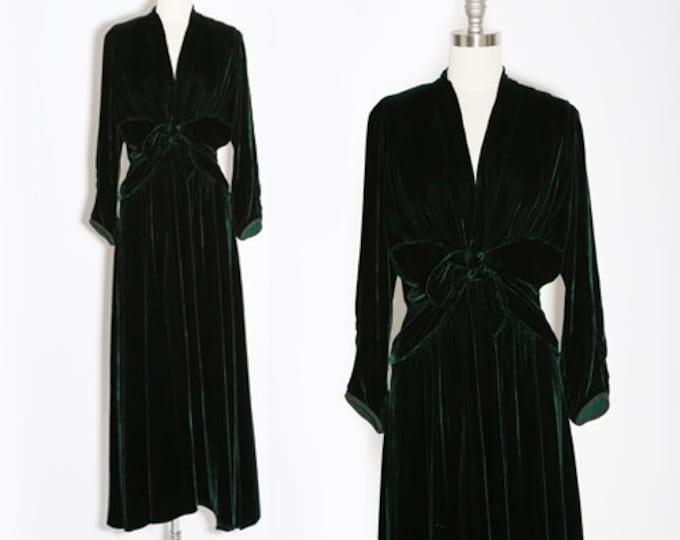 Forest Velvet dress | Vintage 90s 40s green velvet maxi dress | 1990s Hand Created Jane Mohr DTK velvet dress