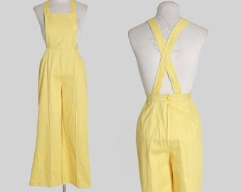 Lemon overalls | Vintage 60s yellow cotton jumpsuit | 1960s 70s overalls