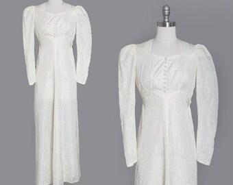 Ivory bow wedding dress | Vintage 30s satin wedding dress | 1930s puff sleeve bias cut wedding dress