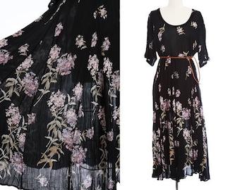 Hydrangea maxi dress | Vintage 90s floral rayon gauze maxi dress | Indian rayon dress