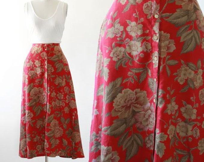 Vintage Lauren Ralph Lauren linen floral midi skirt sz. 12