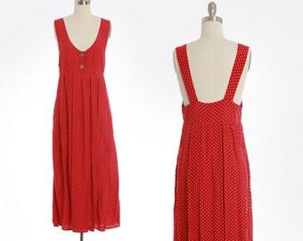 Polka Dot suspender dress | Vintage 90s red dot rayon maxi dress