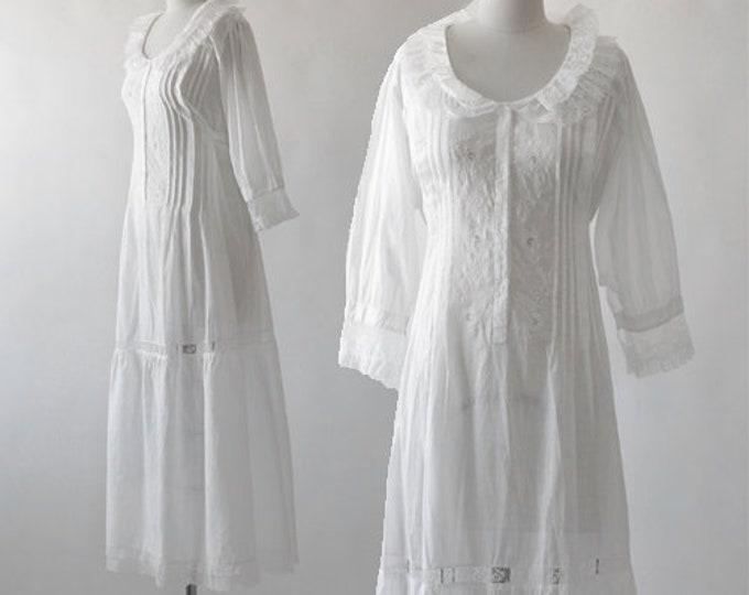 Saybury prairie dress | Vintage deadstock white cotton crochet maxi dress nightie gown