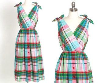 Plaid midi dress | Vintage 90s cotton plaid midi dress M L | 1990s rainbow plaid day dress