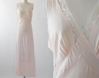 Seamprufe pink slip | Vintage 40s bias cut slip dress | 1940s Wedding slip dress nightie lingerie
