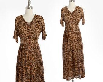 Snakeskin dress | Vintage 90s rayon snakeskin maxi dress | 1990s rayon maxi dress