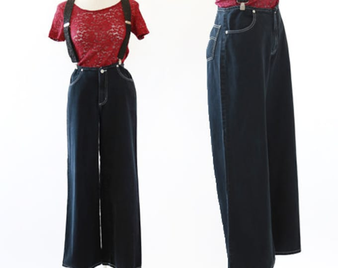 baggy jeans  | Vintage 90s black denim wide leg baddy jeans | Hip Hop jeans