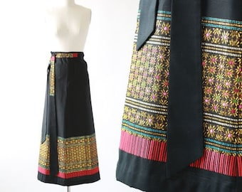 Indian wrap skirt | vintage 60s 70s wrap skirt | Ethnic floral embroidered gold maxi skirt