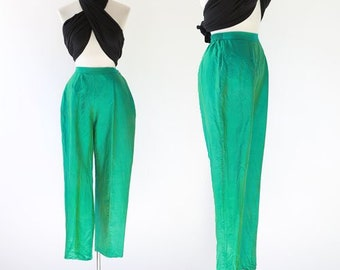 iridescent green silk pants | Vintage 80s 60s peddle pushers slacks L | High waist green slacks