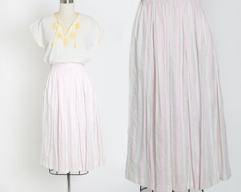 Vintage 80s pale pink striped skirt