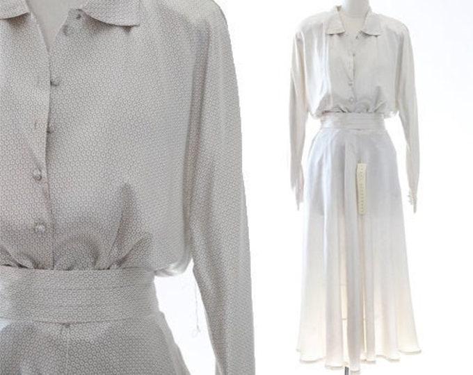 Minimalist silk set   Vintage white SILK 2pc Blouse + skirt outfit suit   Deadstock Paul Alexander silk