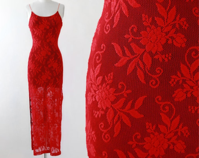 Just in time dress | Vintage 90s floral red net maxi dress | Sexy dress