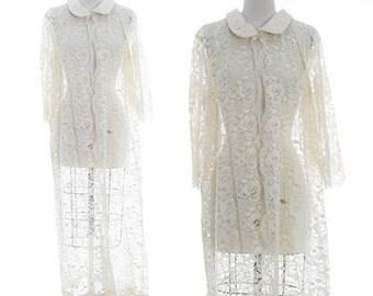 Floral lace duster | Vintage 60s lace long coat | wedding coat duster