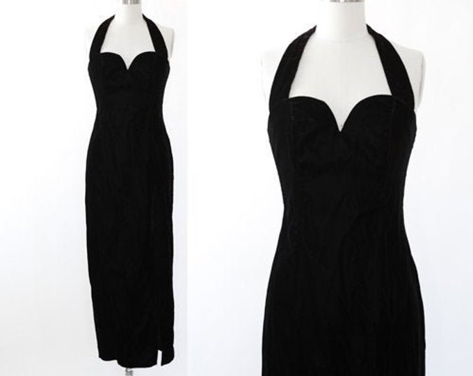 Steppin' Out velvet dress | Vintage 80s Inky black velvet maxi dress | 80s 40s bombshell maxi dress